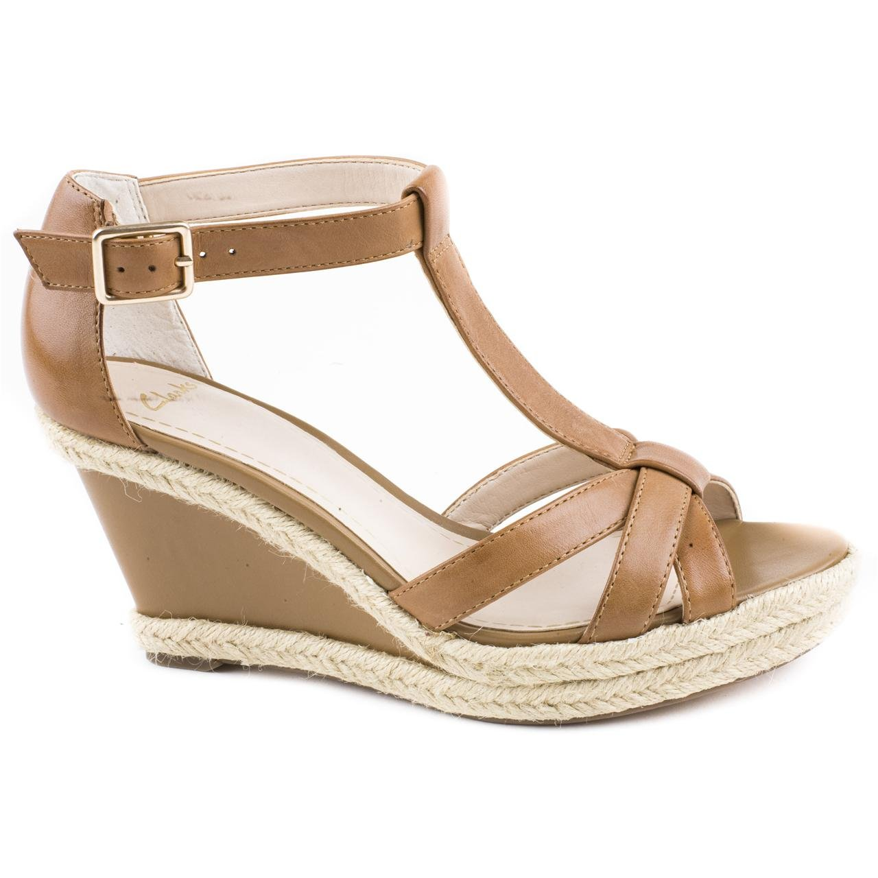 b15b83f4018 Ladies Clarks Octagon Bahama Tan Wedge Sandals Size 8  Amazon.co.uk  Shoes    Bags