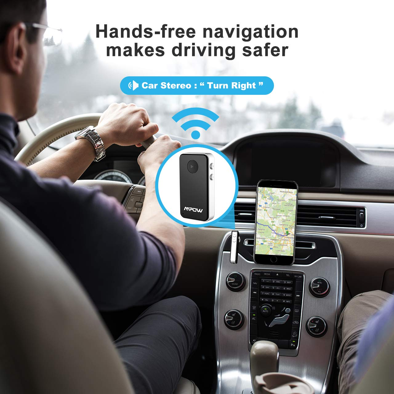 Mpow Bluetooth Receiver Streambot Mini Car Aux Adapter 10hrs Hands Free Kits