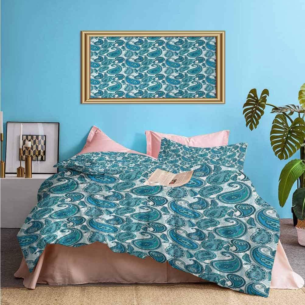 prunushome Paisley 3pc Duvet Cover Set Antique Floral Ornamental Retro Swirled Artistic Pattern Cozy Simple Style Bedding Set Teal Pale Blue Aqua (1 Duvet Cover and 2 Pillow Shams) Twin Size