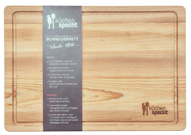 Schneidebrett Holz Gross Schwebe Effekt 35x24x2cm Mit Saftrille
