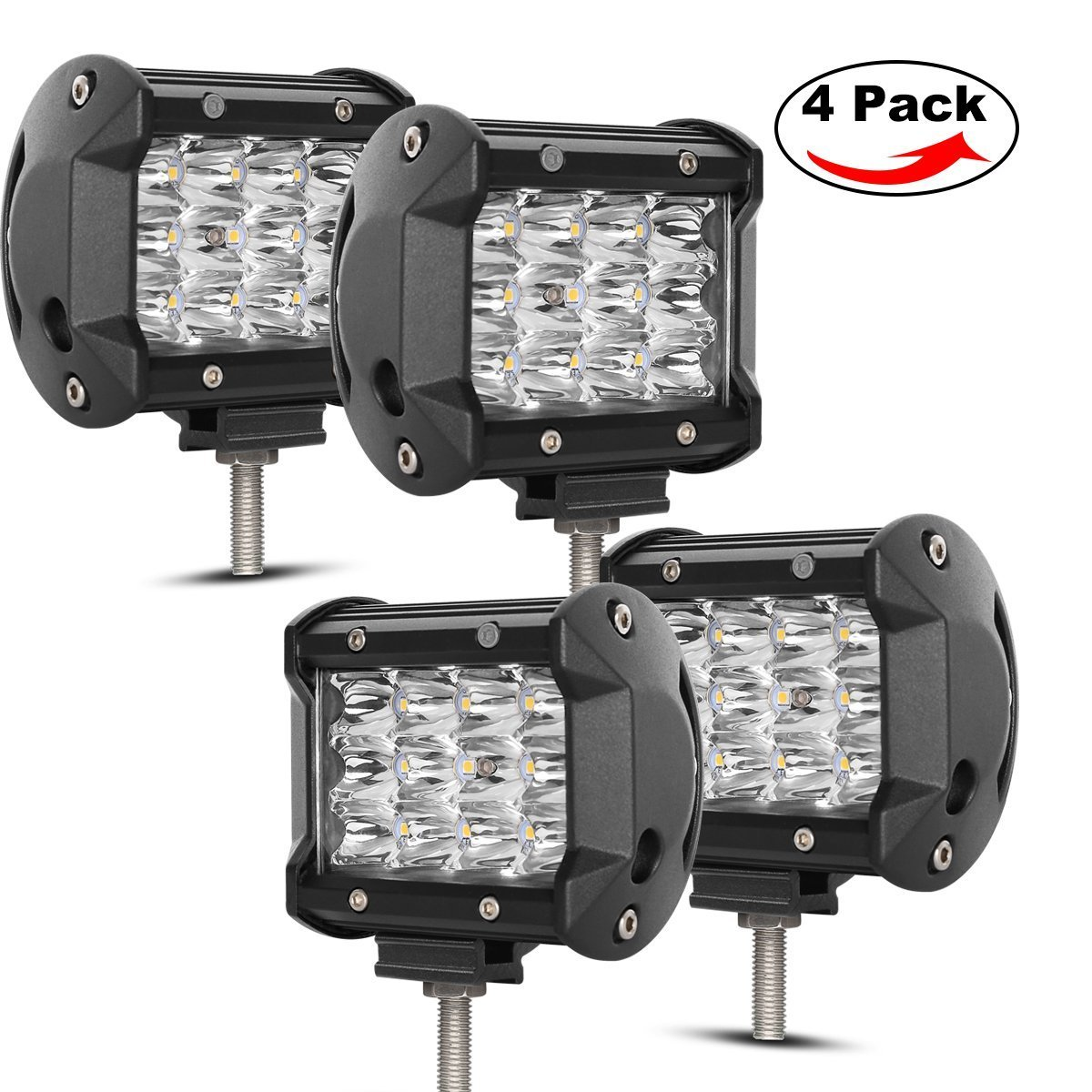 Led Pods, Rigidhorse Triple Row 4 pcs 4' 40W LED Spot Lights Off Road Lights LED Driving Light For Jeep SUV Trucks Pickup Boat, Come With Slidable Mounting Bracket, 2 Years Warranty