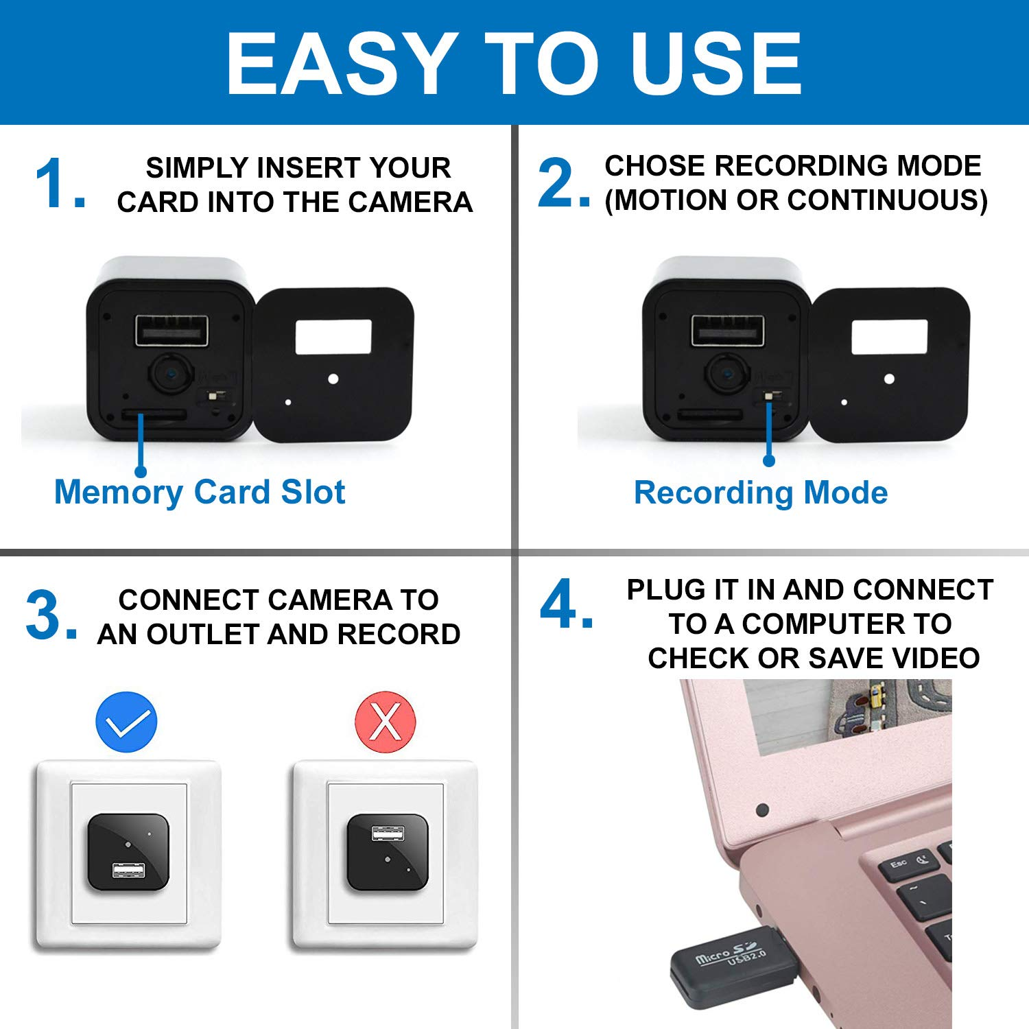 USB Hidden Camera - Spy Cam Charger HD 1080 P with Motion Detection and microSD Card Included - Nanny Cam Premium Pack - Mini Spy Camera No Wi-Fi Needed Newest Edition 2019 - Indoor Security Camera