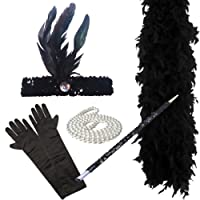 FLAPPER 5-teiliges Set Damen Charleston-Abendkleid 1920 (SCHWARZ)