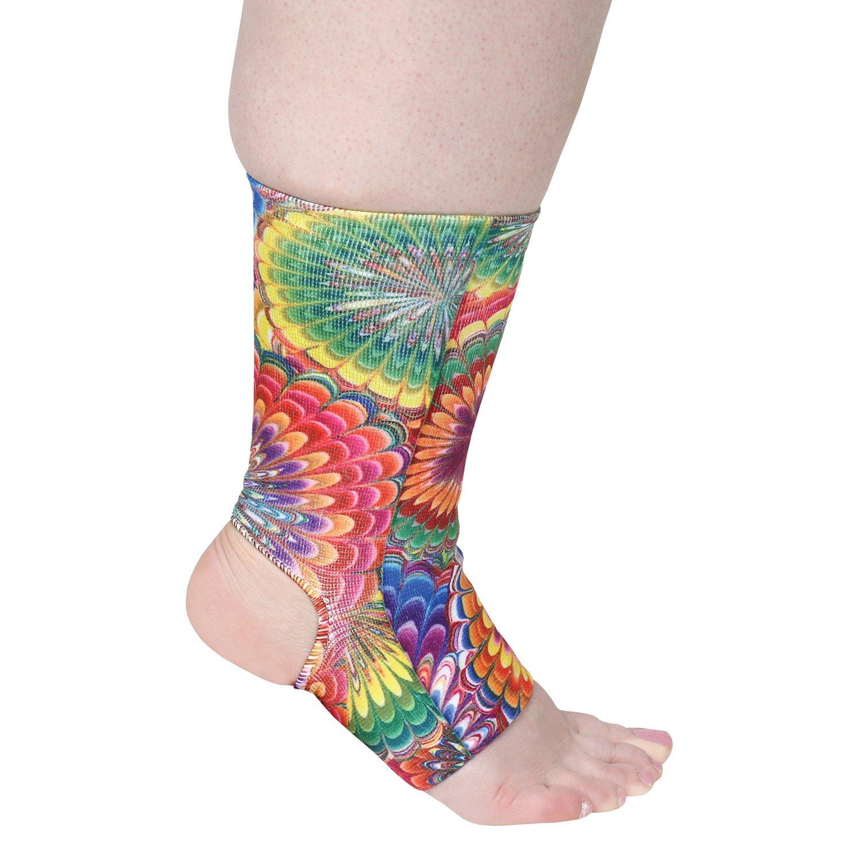 Celeste Stein Designs Women's Ankle Compression Sleeve - Printed Elastic Support Brace - Tie Dye - Regular