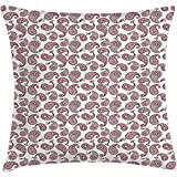 Starotor Throw Pillow Ethnic Cushion Cover, Paisley Leaves Arabian Mehndi Middle Eastern Traditional Oriental Folk Boho, Decorative Square Accent Pillow Case, 18 X 18 Inches, Burgundy White
