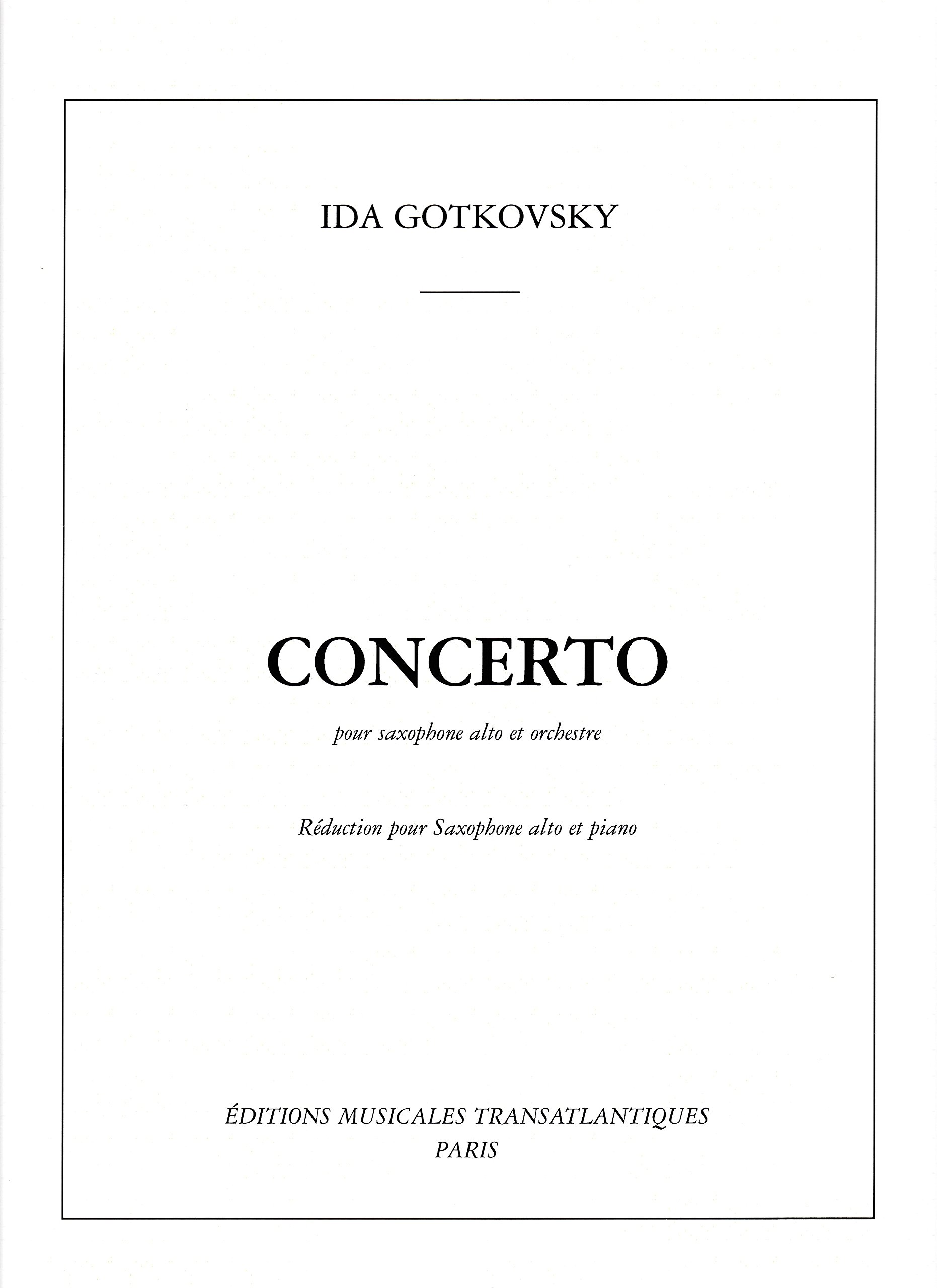 Concerto for Alto Saxophone and Piano by Ida Gotkovsky