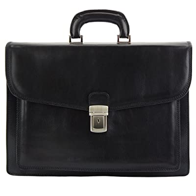 Dalmazio Leather Business Briefcase with front pocket - 7602 - Leather bags