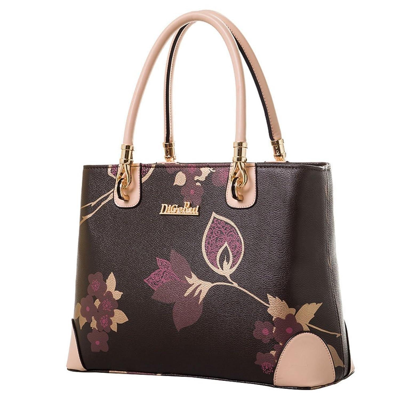Zegarin Women's Leather Floral Shoulder Satchel Handbags Tote Bag