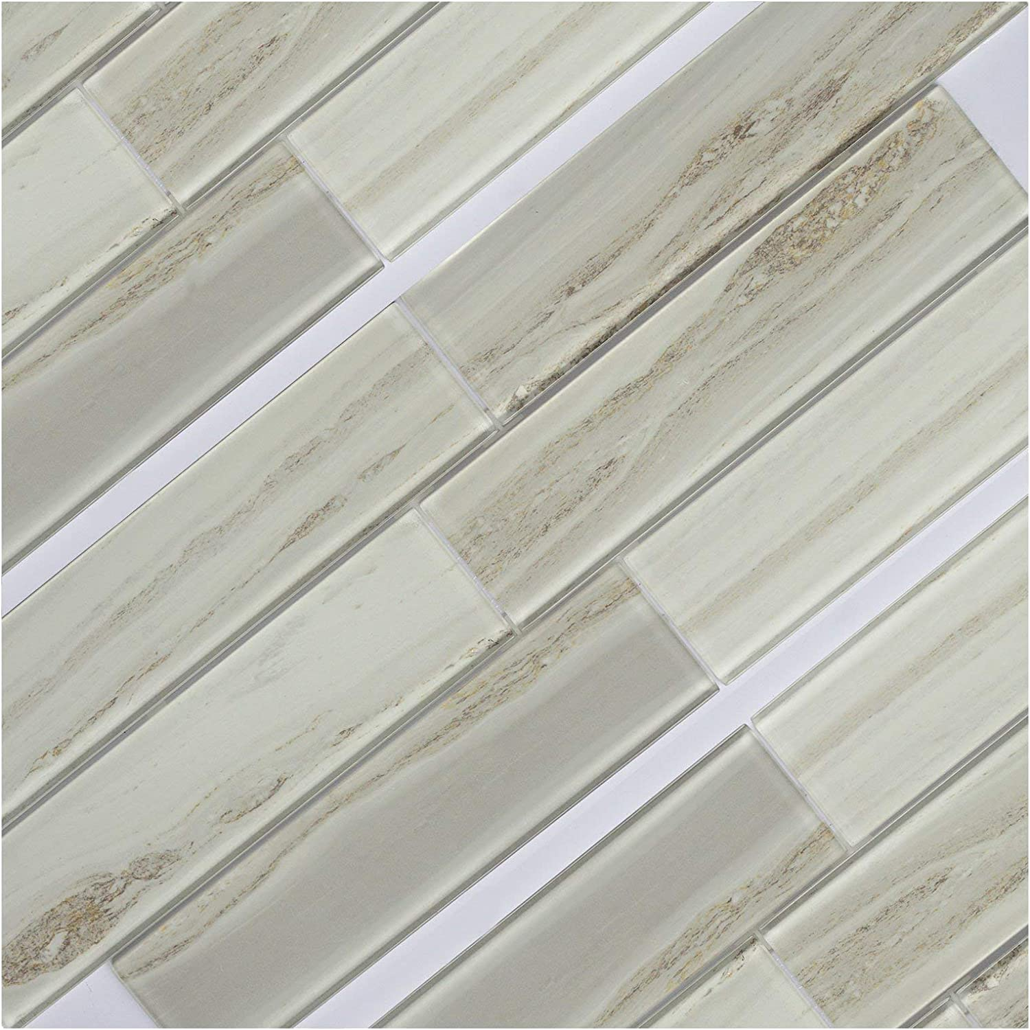 Amazon Com Koozzo Glass Mosaic Tile Rectangular 11 8 X 2 95 A Pack Of 6 Pieces Approx 1 45 Sq Ft For Kitchen Backsplash Shower Wall Bathroom Tile Glossy Beige Home Kitchen