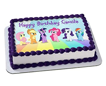 My Little Pony Quarter Sheet Edible Photo Birthday Cake Topper Personalized 1