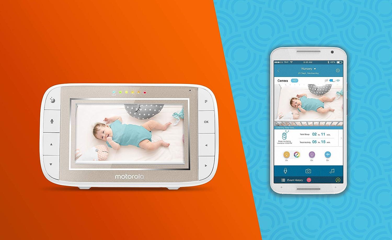 Motorola Halo Over-the-Crib Wifi Videomonitor mit 4,3-Zoll-Handheld-Elternger/ät und WLAN-Hubble-App f/ür Smartphones und Tablets