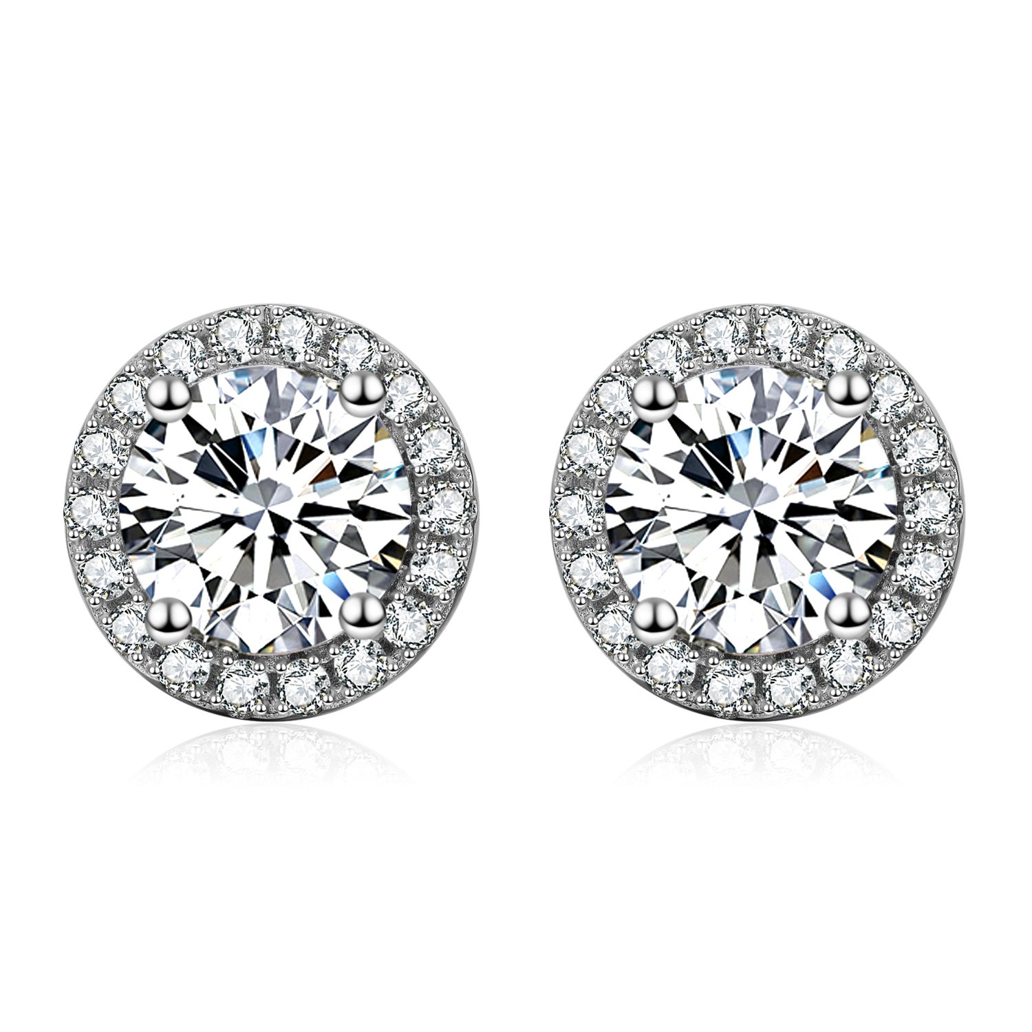 YFN Platinum-Plated Sterling Silver Round-Cut Cubic Zirconia Halo Stud Earrings by YFN (Image #1)