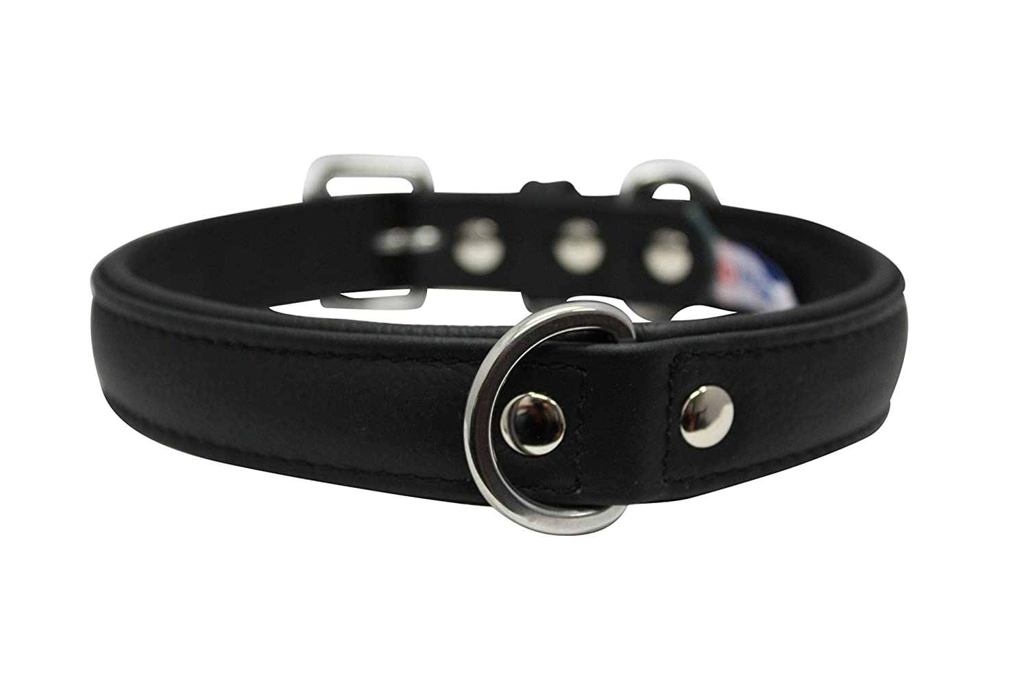 Angel Pet Supplies Leather Dog Collar, 20  x 1 , Black