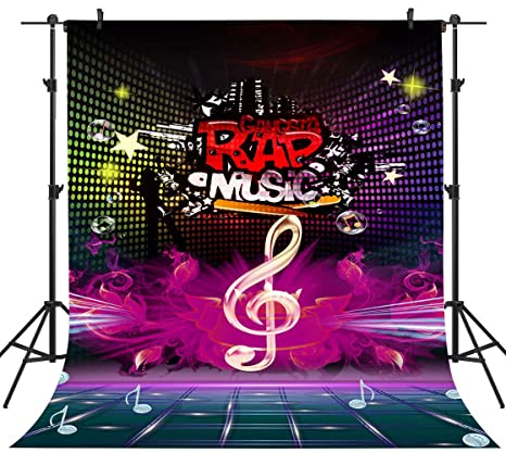 Amazon com : PHMOJEN Colorful Rap Music Backdrop Music Symbol Stage