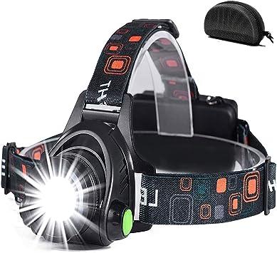 Linterna Frontal, a Prueba de Agua y Recargable con USB, Función de Zoom, Linterna Frontal de Led, Linternas Frontales Ajustables con Ángulo De 90 ...