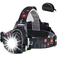 Led-hoofdlamp, oplaadbaar via USB, hoofdlamp, hoofdlamp met 3 lichtmodi, 90 graden instelbaar, waterdicht, zoombaar…