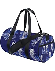 MASSIKOA Japanese Style Carp Gym Duffle Bag Drum Tote Fitness Shoulder Handbag Messenger Bags for Men and Women