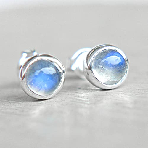 earrings stone gold solid store moon oval moonstone