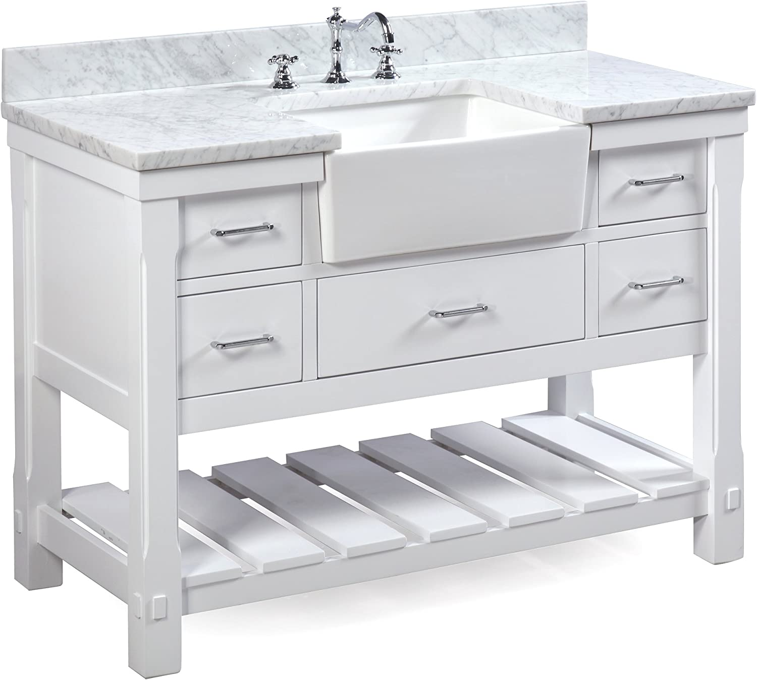 Charlotte 48-inch Bathroom Vanity Carrara White Includes a Carrara Marble Countertop, White Cabinet with Soft Close Drawers, and White Ceramic Farmhouse Apron Sink