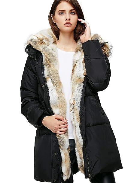 03b0ea8d4 Escalier Women's Down Coat with Real Raccoon Fur Hooded Parka Jacket