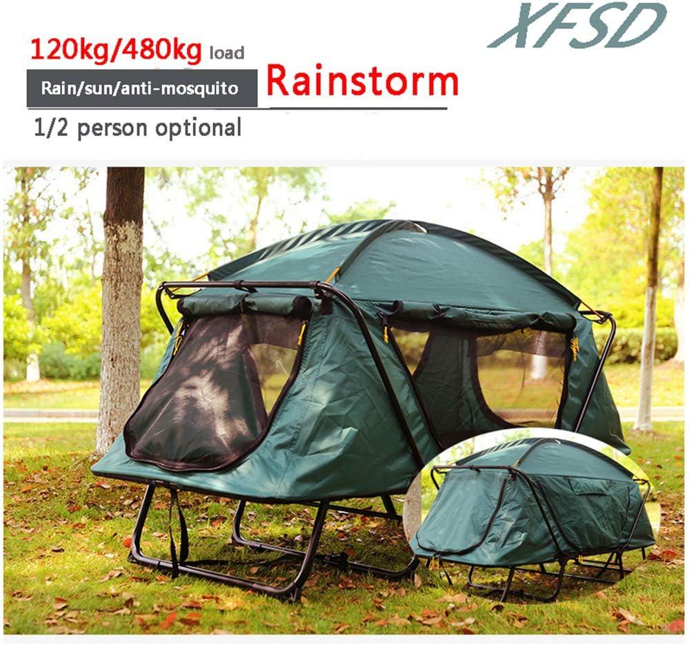 XFSD Tienda de Cuna de Camping Todo en uno portátil de Gran tamaño, Fuera del Suelo, con colchón de Aire, Saco de Dormir y Almohada, Cuna Plegable Resistente al Agua Oxford portátil, 1/2 Persona