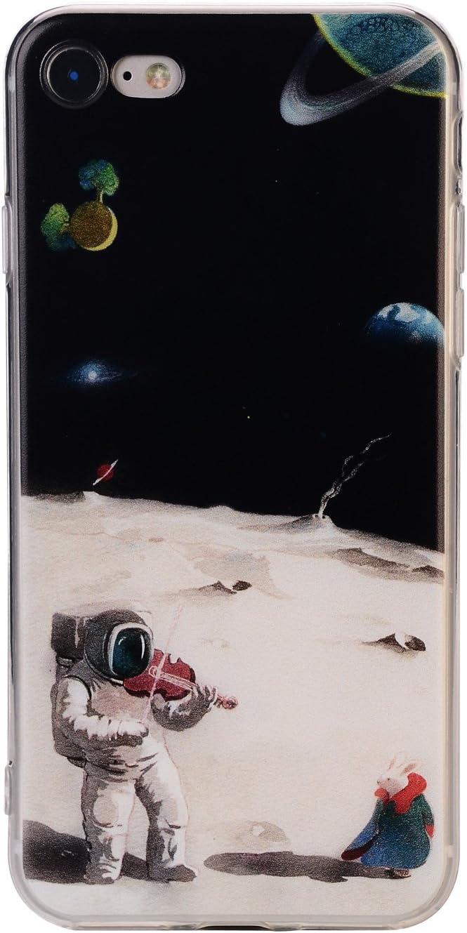 TNCYOLL iPhone 7 Case, iPhone 8 Case Bumper TPU Soft Case Rubber Skin Cover for iPhone 7 / iPhone 8 Astronauts Play The Violin Design