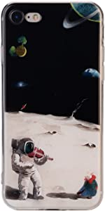 TNCYOLL iPhone 7 Case, iPhone 8 Case Bumper TPU Soft Case Rubber Skin Cover for iPhone 7 / iPhone 8 Astronauts Play The Violin Design