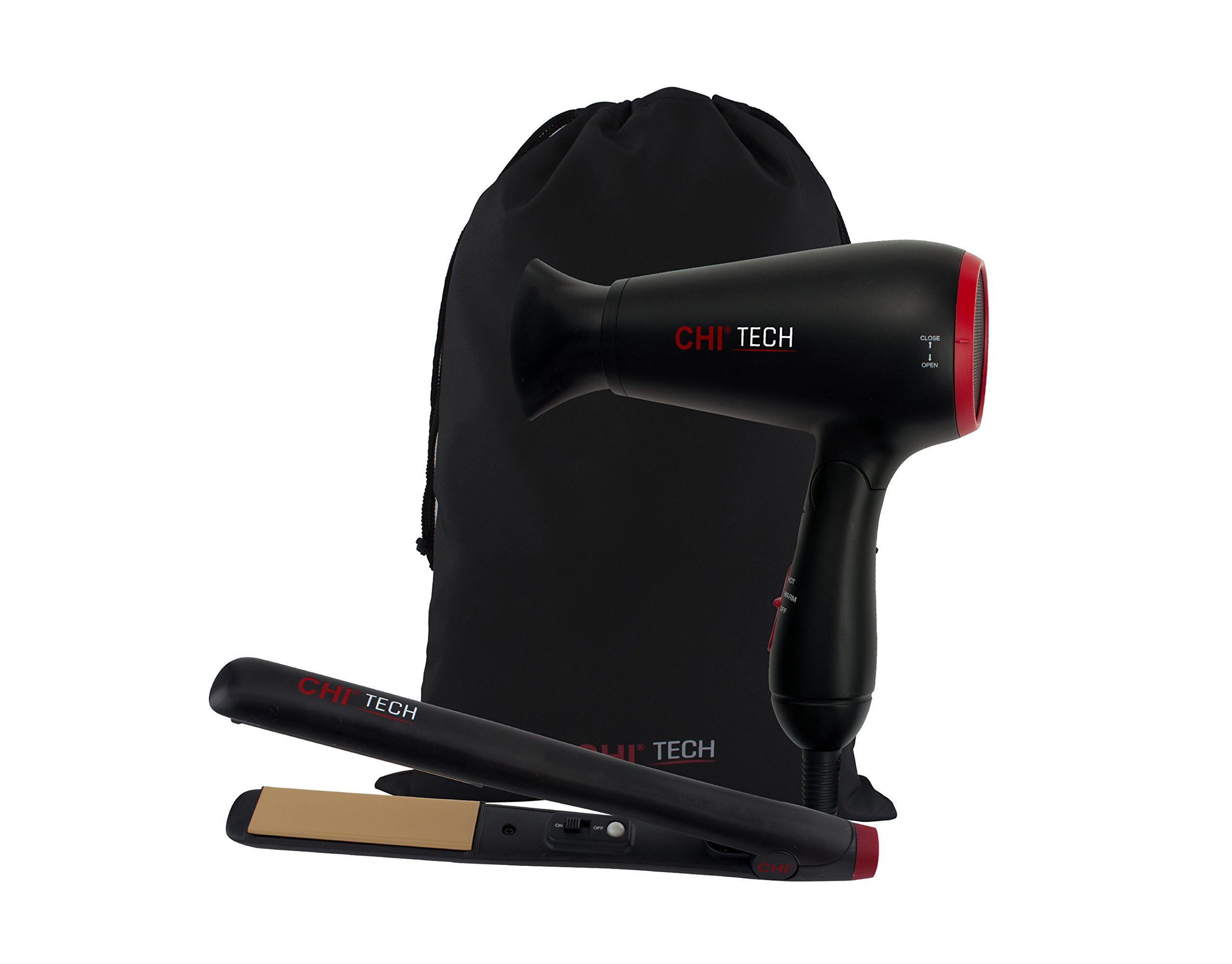 CHI Tech Hair Dryer and Ceramic Hairstyling Iron - 2 Piece Travel Set by CHI