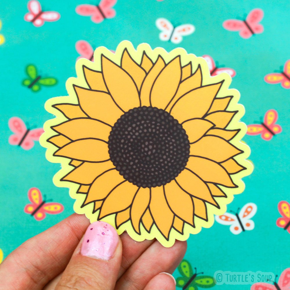 Sunflower Sticker, Vinyl Stickers, Sunflower Art, Plant Lover Gift, Car Decal, Floral, Girl Gift, Prairie Decor, Summer Bloom, Helianthus
