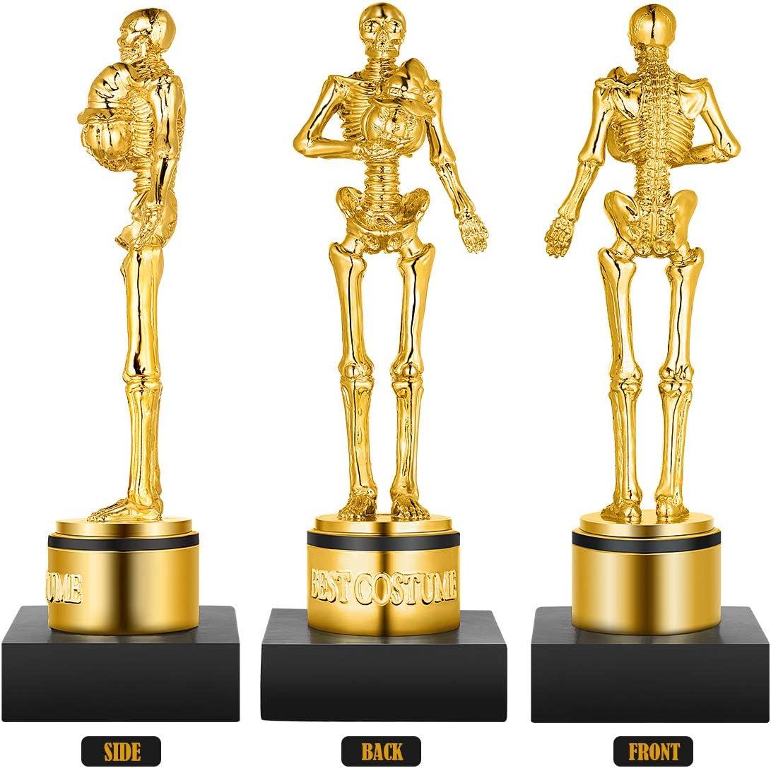 Toyvian Halloween Best Costume Trophy Skeleton Plastic Trophy Gold Awards