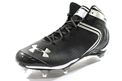 1aa6a90e712d Under Armour Men's Saber Mid D Black Football Cleats Wide Width Size (11EE)