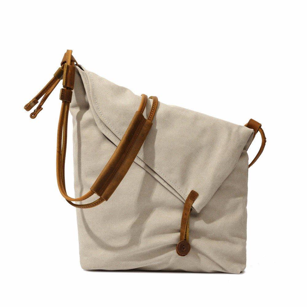 YDIUDIU Canvas Tasche retro literarischen Stoff Schulter diagonale Leinwand mit Leder Damen Tasche, weiß