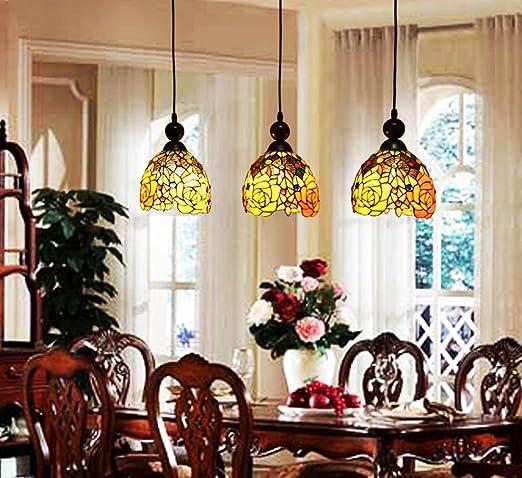 Makenier Vintage Tiffany Style Stained Glass 3 Light Rose Flower Lampshade Dining  Room Bar Pendant