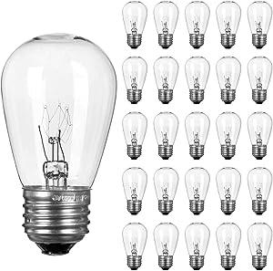 26 Pack S14 Light Bulbs- 11 Watt Warm Replacement Clear Glass Bulbs for Commercial Grade Outdoor Patio Garden String Lights E26 Medium Base