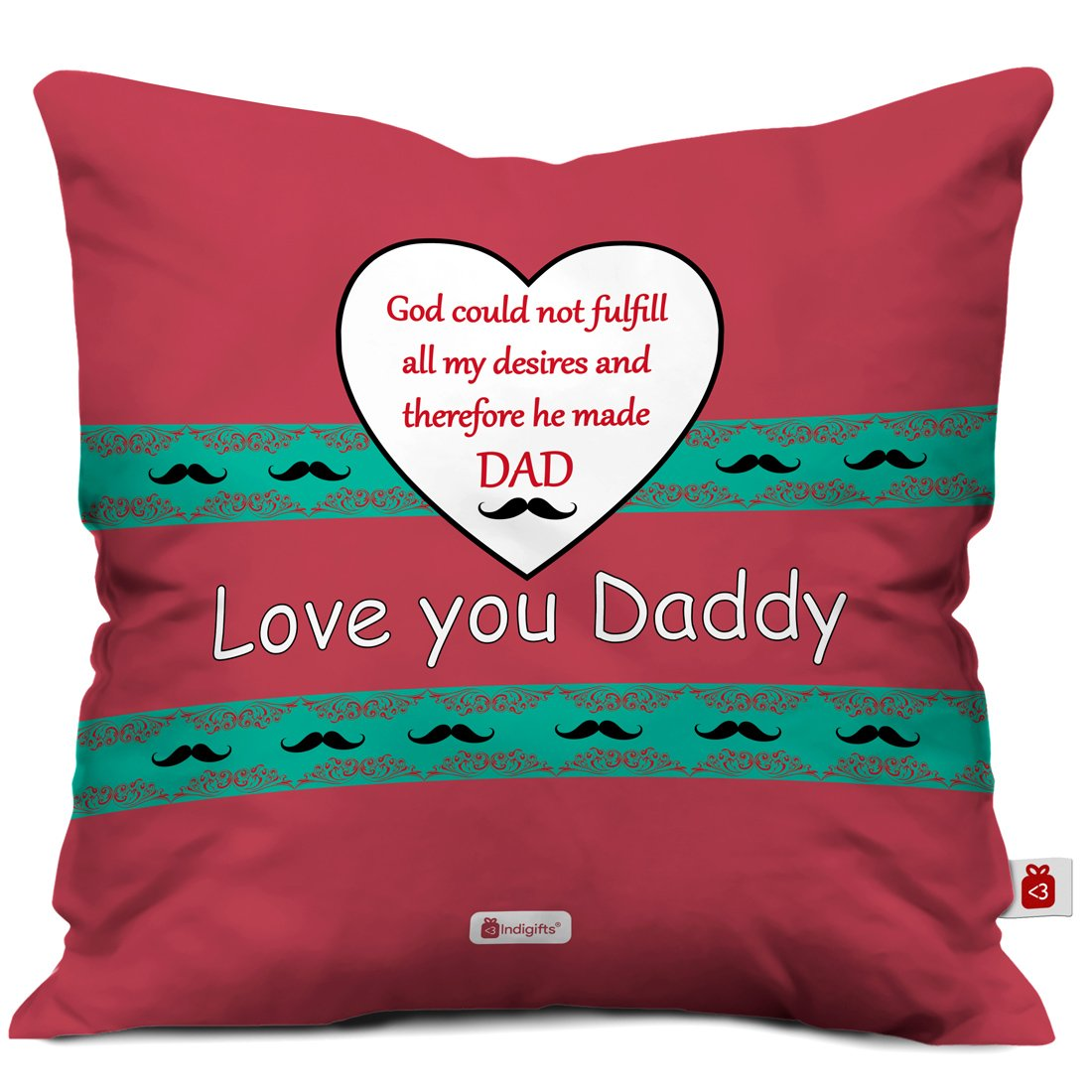 Indigifts Father Birthday Gifts Love You Daddy Beautiful Cushion Cover 12x12 Inches With Filler Brown