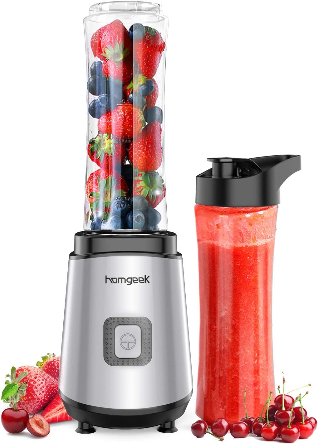 homgeek Personal Mini Blender Smoothie Maker, Portable Juicer Cup, Electric Power Mixer for Fruit and Vegetable,with Travel Lid and 2 Tritan Travel Sport Bottle 600ml/20oz (Two Bottles)