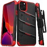 ZIZO Bolt 系列 iPhone 11 Pro Max 手机壳 - 重型*级防摔带支架皮带夹皮套钢化玻璃挂绳 黑色/红色