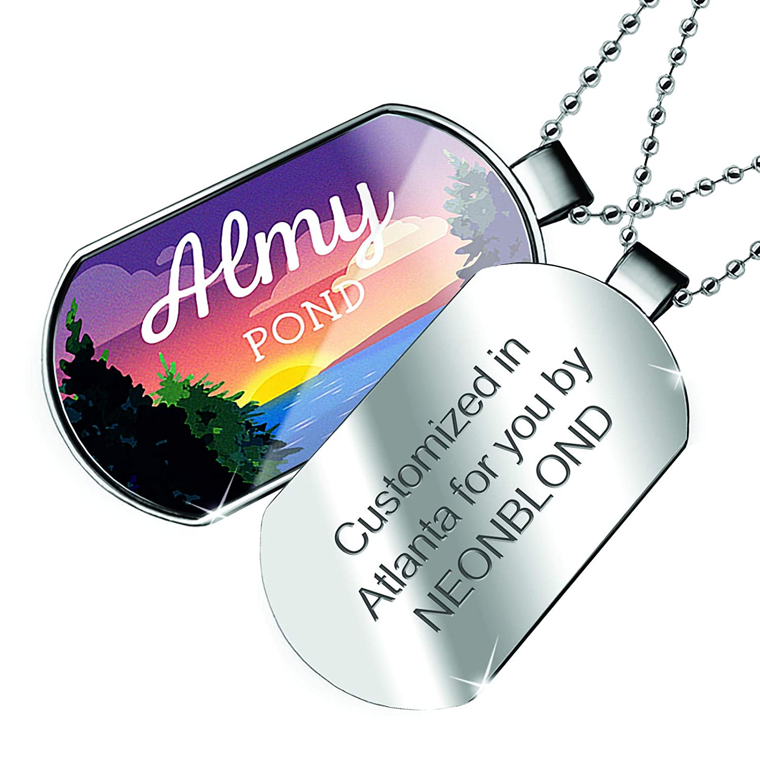 NEONBLOND Personalized Name Engraved Lake Retro Design Almy Pond Dogtag Necklace