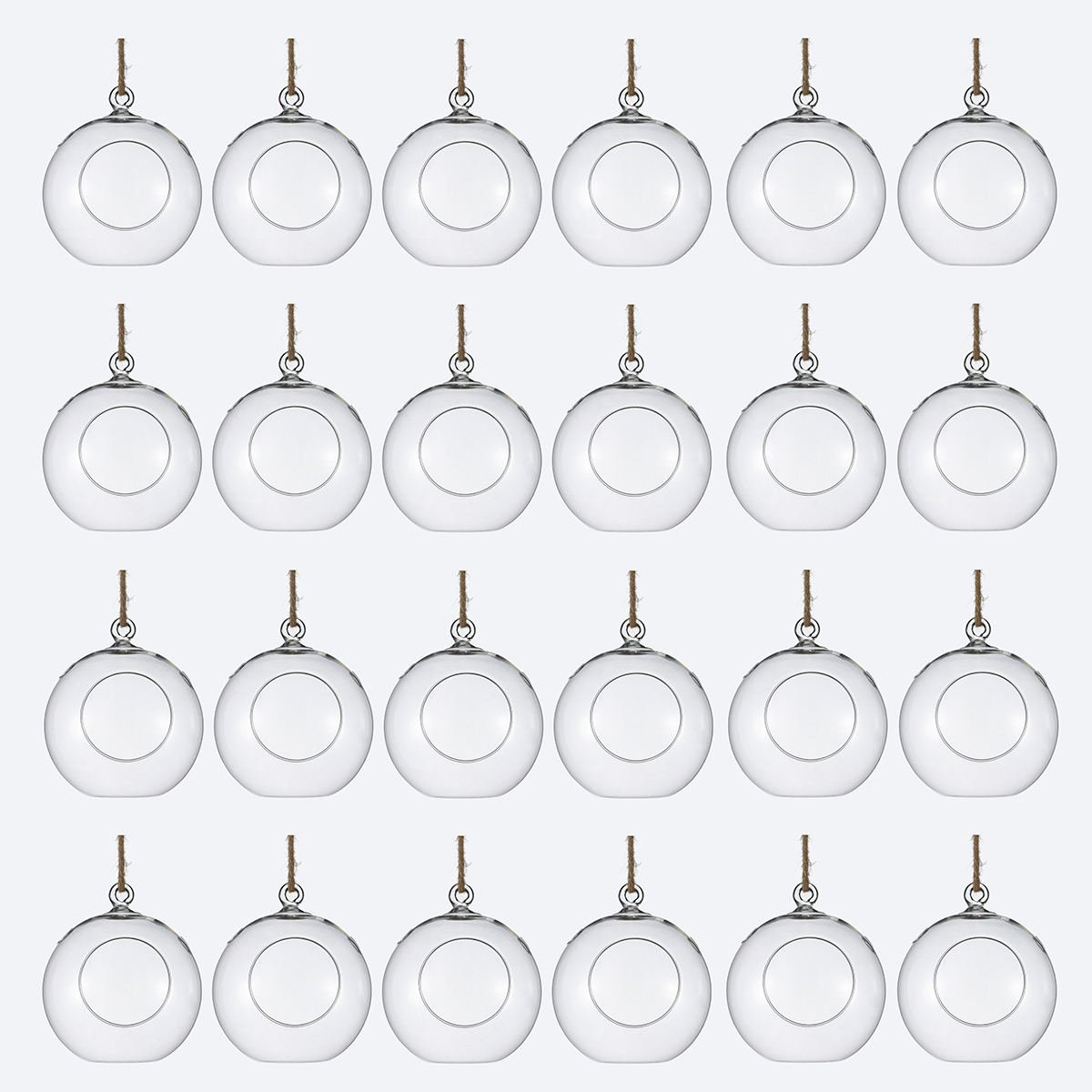 Package of 24 Clear Glass Orbs Terrarium Hanging Glass Candle Holders 8 CM Tea Light Holders Use For Succulent Gardening or Wedding Decorations
