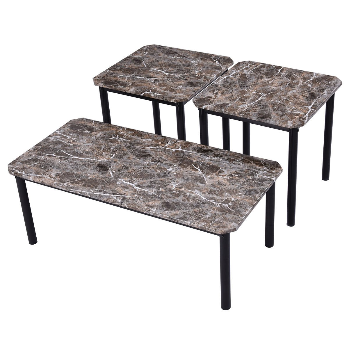 Amazon.com: TANGKULA 3 Piece Marble-Look Top Coffee and Ende Table ...
