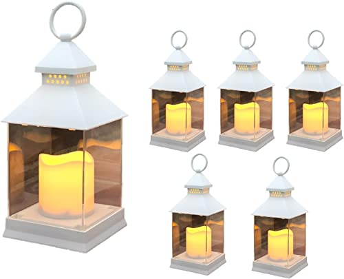 Just in Time for Spring 6 Pc Set 10 Decorative Lanterns with Flameless LED Lighted Candle – 5 Hr Timer Modern Look Indoor Outdoor for Home, Garden, Patio, Party Lights, Weddings – White