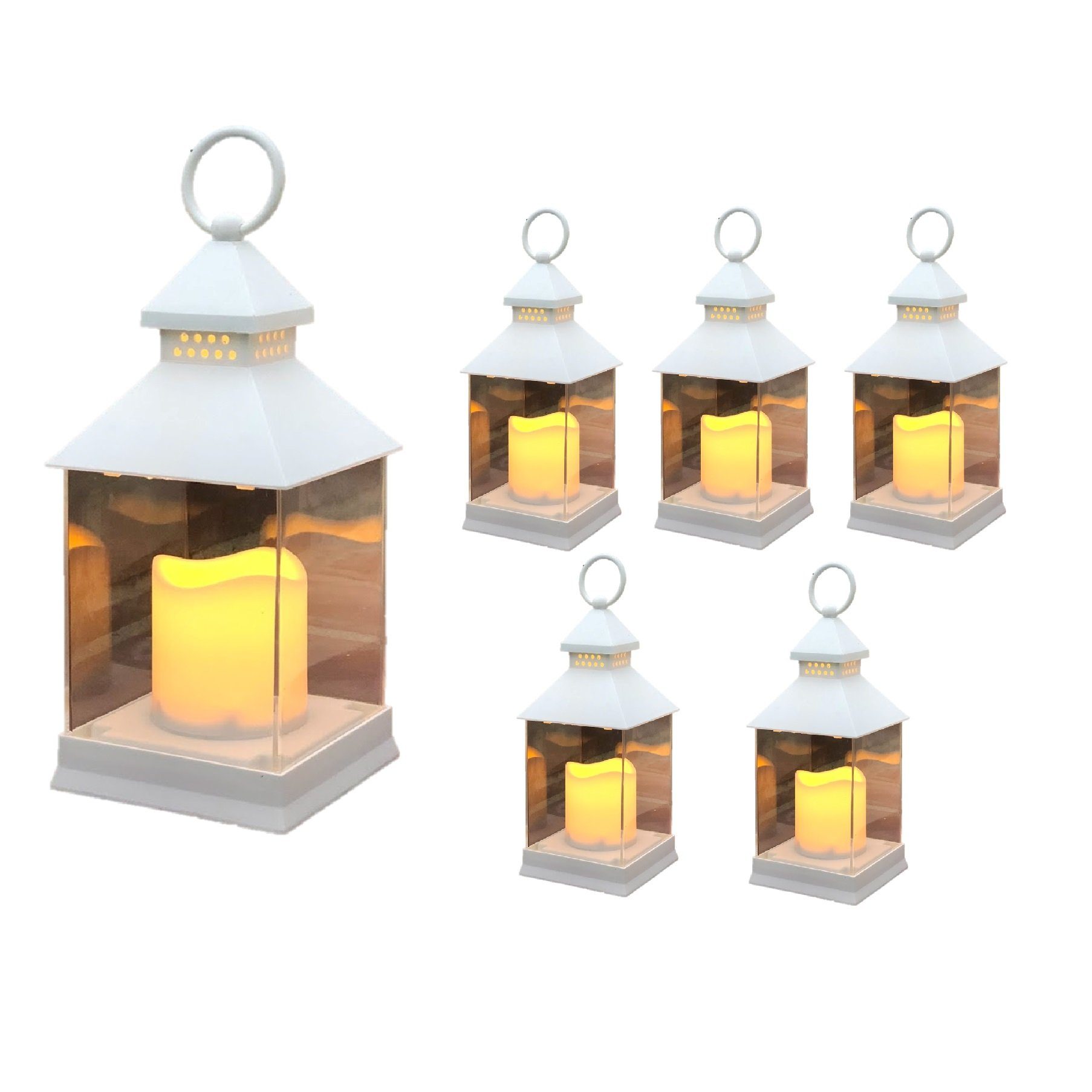 Just In Time for Spring {6 Pc Set} 10'' Decorative Lanterns With Flameless LED Lighted Candle - 5 Hr Timer Modern Look Indoor Outdoor for Home, Garden, Patio, Party Lights, Weddings - White