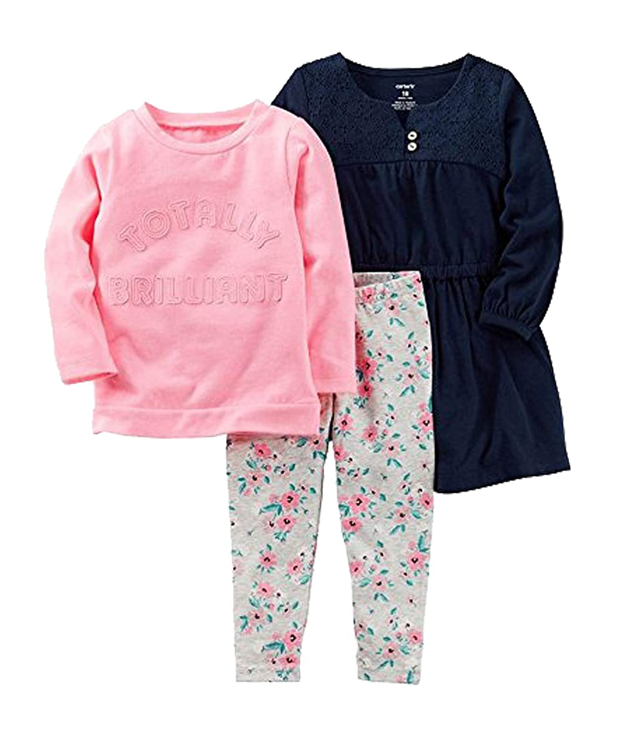 f525a3ccb9d57 Amazon.com: Carter's Toddler Girl Navy Dress, Totally Brilliant Top & Floral  Leggings Set Size 2T: Clothing