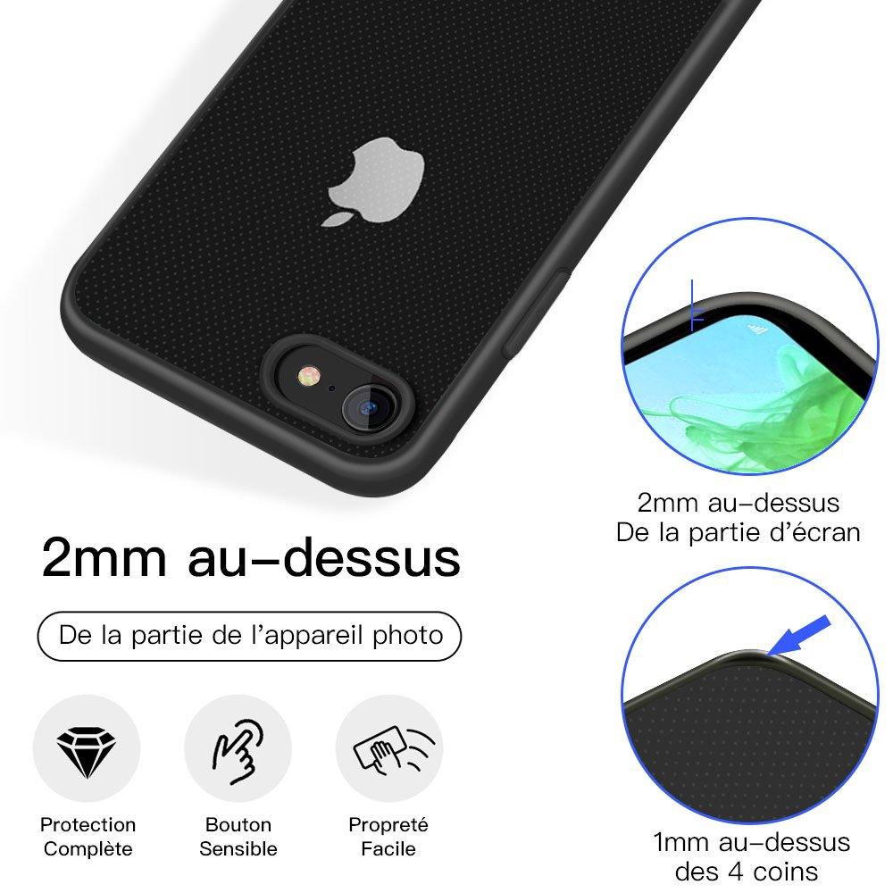 JSB Coque iPhone 7/8 Coque Transparent de PC avce TPU Silicone Bumper Housse de Protection Anti-jaunissement Ultra Léger Etui Crystal Clear Case Ultra Mince pour iPhone 7/8-Noir