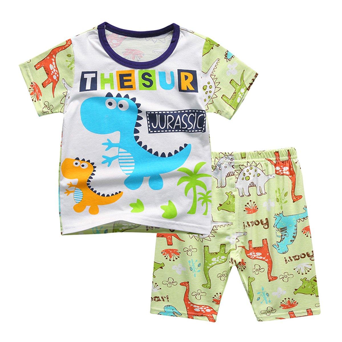 OnlyAngel Little Boys Cute Dinosaur Short Sleeve Cotton T Shirts /& Shorts Set Age 1-8