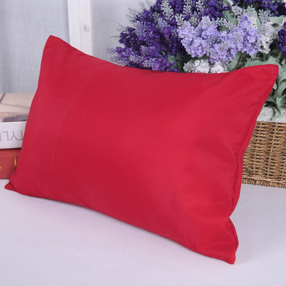 Deconovo Cushion Covers Home Decorative Hand Made Pillowcase Cushion Covers for Sofa 18 x 18 Inch No Pillow Insert Red