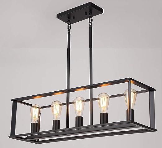 5 Light Kitchen Island Lighting Modern Linear Pendant Light Fixture Oil Rubbed Black Finish Amazon Com