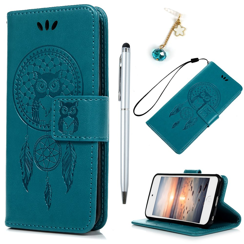 iPod Touch 5 Case,iPod Touch 6 Case,Badalink PU Leather Case Cover Embossed Campanula Owl Magnetic Closure Wallet Folio Flip Case Cover Inlaid TPU Case for iPod Touch 5/iPod Touch 6 with Hand Strap & Card Holder,Blue