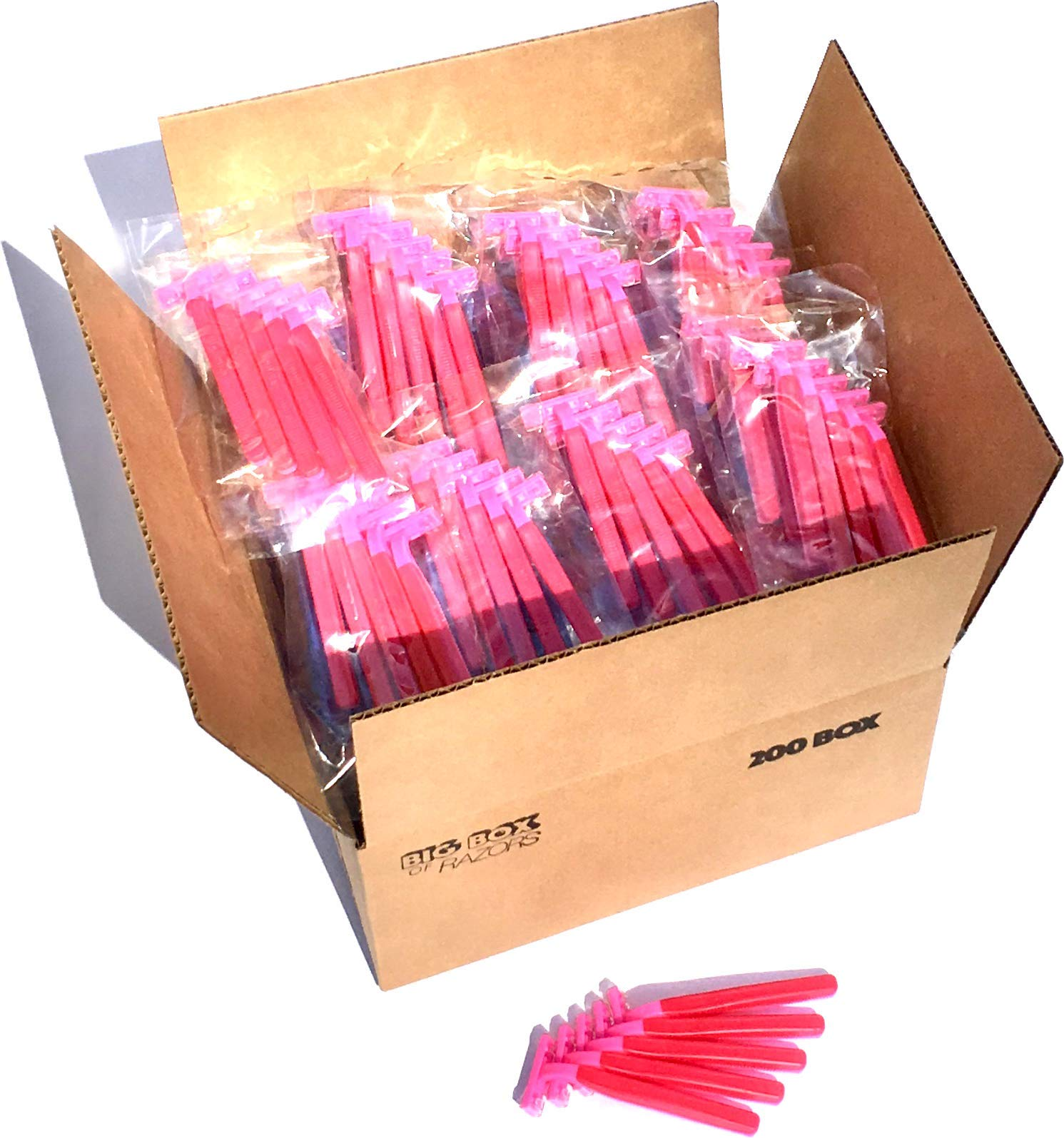 200 Box of Pink Razor Blades Disposable Stainless Steel Hospitality Quality Shavers High End Twin Blade Razors for Men and Women with Aloe Vera Lubrication Strip by Big Box of Razors