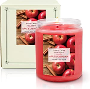 SCENTORINI Apple Cinnamon Scented Candle, 7 oz Natural Soy Wax Candle, Aromatherapy Candle Gift Set for Halloween, Christmas